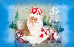 Christmas card with funny santa claus Royalty Free Stock Photography