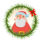 Christmas card with funny Santa Claus in round frame of fir branches.  Royalty Free Stock Photos