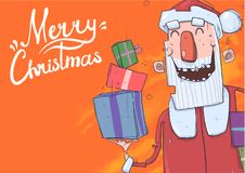 Christmas card with funny Santa Claus smiling. Santa Claus brings presents in colorful boxes. Lettering on orange Stock Photos