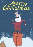 Christmas card with funny Santa Claus smiling and dancing on a chimney on snowy night city background.   Royalty Free Stock Photography