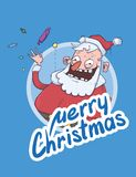 Christmas card with funny Santa Claus smiling and waving hand.. Christmas card with funny Santa Claus smiling and waving hand. Santa waves hello and throws Stock Image