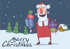 Christmas card of funny smiling Santa Claus. Santa with gift boxes in the snowy night. Christmas trees and festive house Stock Image
