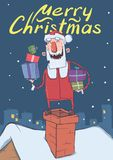 Christmas card with funny smiling Santa Claus. Santa with presents in the boxes up on a chimney on snowy night city Royalty Free Stock Photography