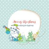 Christmas card, funny snowman Stock Photo