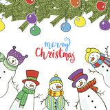 Christmas card with funny snowmen. Vector illustration Stock Image