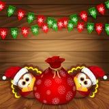 Christmas card with funny turkeys Stock Photos