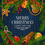 Christmas card with garland made from fir branches. Vector. Stock Images