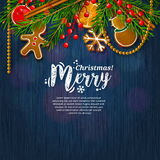 Christmas card with garland made from fir branches. Vector. Royalty Free Stock Photos