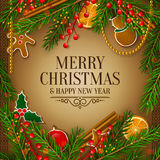 Christmas card with garland made from fir branches. Vector. Royalty Free Stock Photography