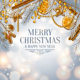 Christmas card with garland made from fir branches. Vector. Stock Photos