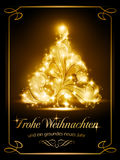 Christmas card with German. Warmly sparkling Christmas tree light effects on dark brown background with the text for Merry Christmas and a Happy New Year in Vector Illustration
