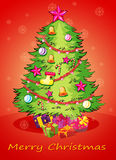 A christmas card with a giant christmas tree with many decoratio Royalty Free Stock Photography