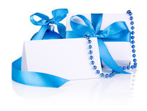 Christmas Card and gift with Blue Ball, ribbon bow Stock Photo