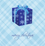 Christmas card with gift box. From gold snowflakes Royalty Free Stock Image