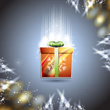 Christmas card with gift box. Over blue background Stock Photography