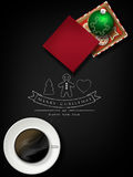 Christmas card gift box with cookies and balls Stock Images