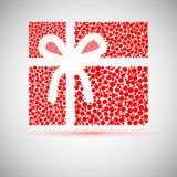 Christmas card. gift box with ribbon. Stock Images