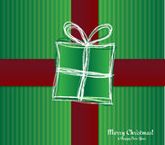 Christmas card - gift box with ribbon. Vector Illustration. Royalty Free Stock Image