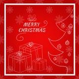 Christmas card gift box and tree hand drawn  illustration Stock Photos
