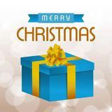 Christmas card with gift box and typographic. For web design and application interface, also useful for infographics. Vector illustration Stock Image