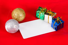 Christmas Card with Gift Box Royalty Free Stock Photography
