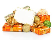 Christmas card with gift boxes and colorful balls Stock Image