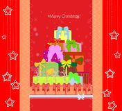 Christmas card with gift boxes Royalty Free Stock Image