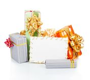 Christmas card with gift boxes Royalty Free Stock Photography
