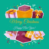 Christmas card with gift boxes Stock Photo