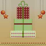 Christmas card with gift boxes Stock Photography