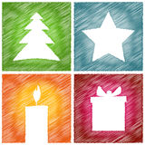 Christmas card gift candle star tree Royalty Free Stock Photos