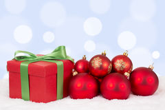 Christmas card gift decoration with red balls and copyspace Stock Photo