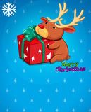 A christmas card with a gift and a deer Royalty Free Stock Images