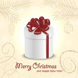 Christmas card with a gift in the middle. Vector illustrations Royalty Free Stock Photography
