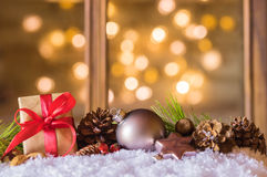 Christmas card with gift and sparkle background Stock Image