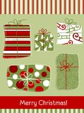 Christmas card with gifts. Doodle illustration of christmas gifts Royalty Free Stock Photos