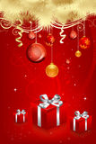 Christmas card with gifts Royalty Free Stock Photo