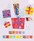 Christmas card with gifts Stock Photos