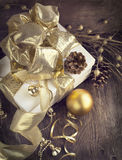 Christmas card with gifts and Christmas ornaments Royalty Free Stock Photo