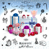 Christmas card with gifts and hand drawn elements Stock Image
