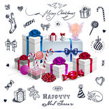 Christmas card with gifts and hand drawn elements Royalty Free Stock Photography