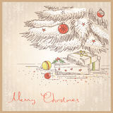 Christmas card with gifts and presents.Vector draw. Vintage Christmas card with gifts and presents.Vector drawing illustration royalty free illustration