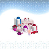 Christmas card with gifts and snowflakes Stock Images