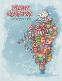 Christmas card with gifts, toys, lamb, christmas bells, boxes, garlands of lights Stock Image