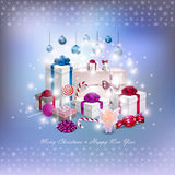 Christmas card with gifts in vector Royalty Free Stock Image