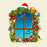 Christmas card with gifts on window. Illustration of christmas card with gifts on window Royalty Free Stock Photos