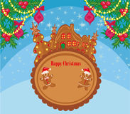 Christmas card with a ginger-bread and funny landscape Stock Image