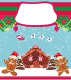 Christmas card with a ginger-bread and Santa Claus Royalty Free Stock Photography