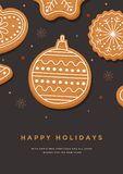 Christmas card with gingerbread Christmas ball and inscription Happy Holidays. Template for design of your holiday cards. Vector i. Llustration Stock Illustration