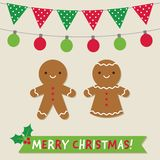 Christmas vector card with gingerbread cookies and decoration stock illustration